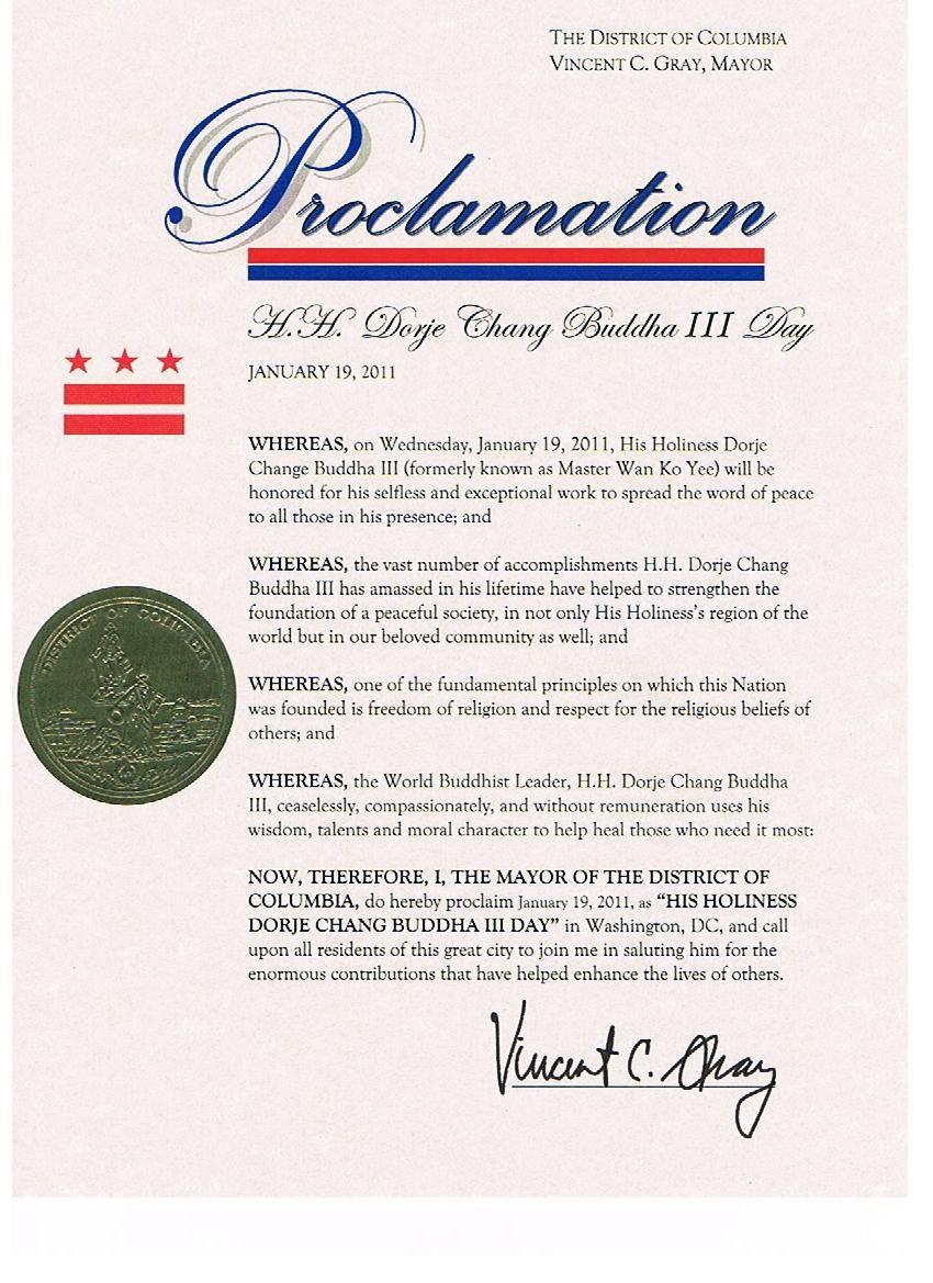 """美國首都華盛頓市葛瑞市長正式宣布二零一一年一月十九日為""""第三世多杰羌佛日"""""""