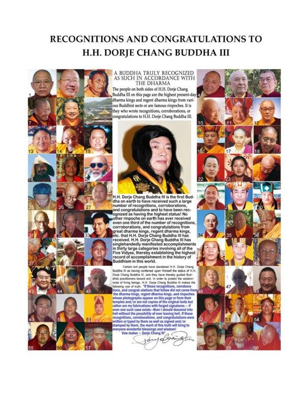 Who Is His Holiness Dorje Chang Buddha III?