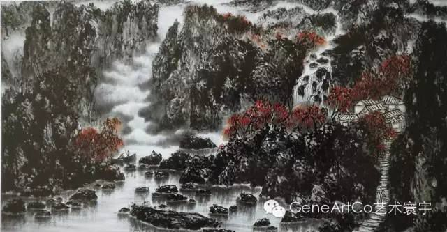 H.H.第三世多杰羌佛中國畫作品:雲水秋歌