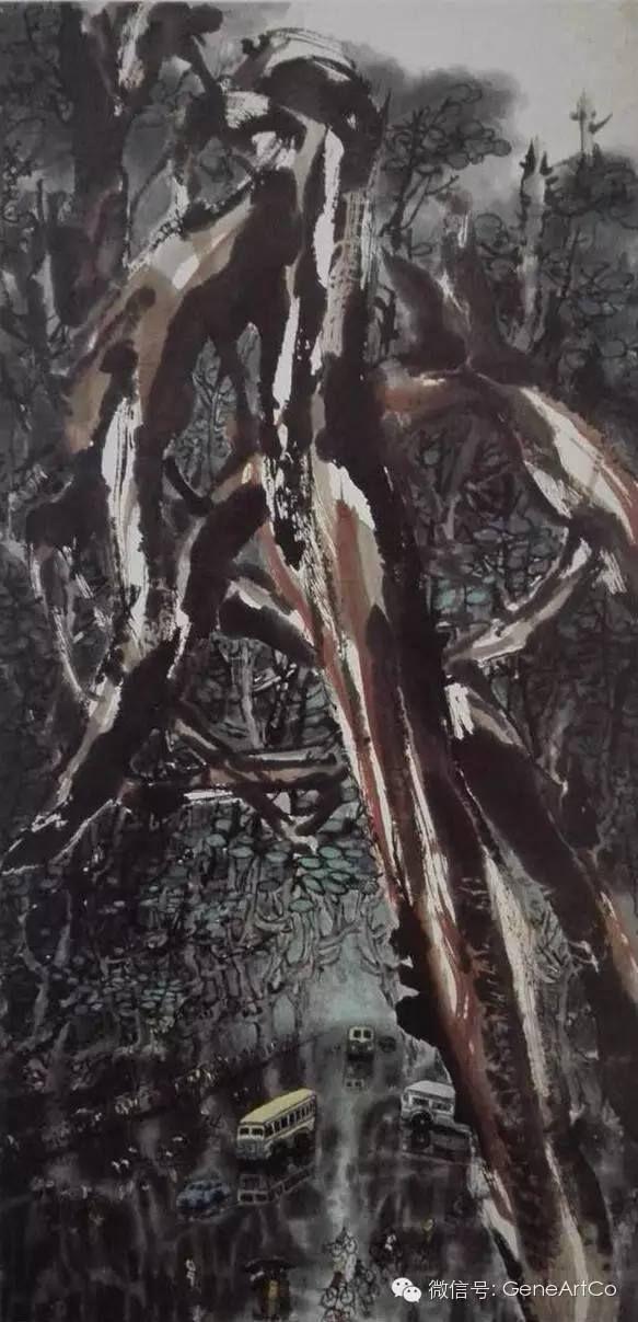 H.H.第三世多杰羌佛中國畫作品:古城雨意