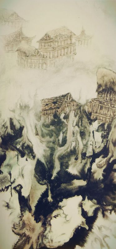 H.H.第三世多杰羌佛中國畫作品:雲山竹樓