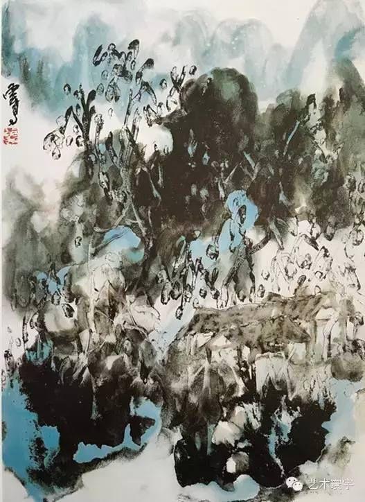 H.H.第三世多杰羌佛中國畫作品:綠翠懸春