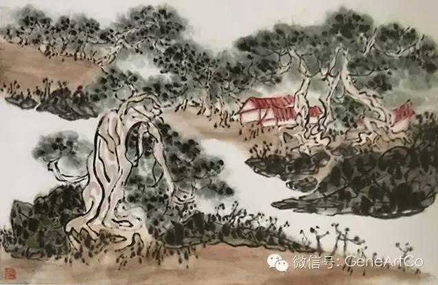 H.H.第三世多杰羌佛中國畫作品:萬年寺