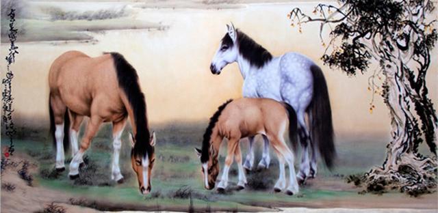 H.H.第三世多杰羌佛中國畫作品:高足寶馬兮