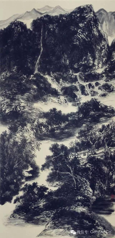 H.H.第三世多杰羌佛中國畫作品:古柏隱泉