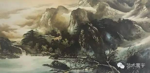 H.H.第三世多杰羌佛中國畫作品:桃花山莊之龍潭湖