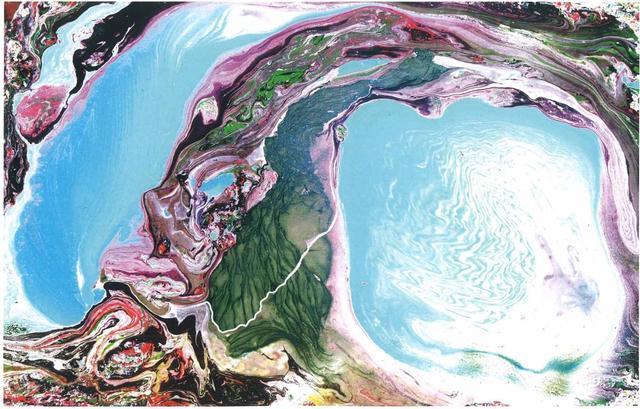 H.H.第三世多杰羌佛西洋畫、超自然抽象色彩作品:玉藍的美呢還是紫紅