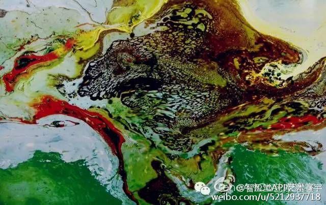 H.H.第三世多杰羌佛西洋畫、超自然抽象色彩作品:蓬萊山島