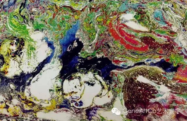 H.H.第三世多杰羌佛西洋畫、超自然抽象色彩作品:斑斕的線和色