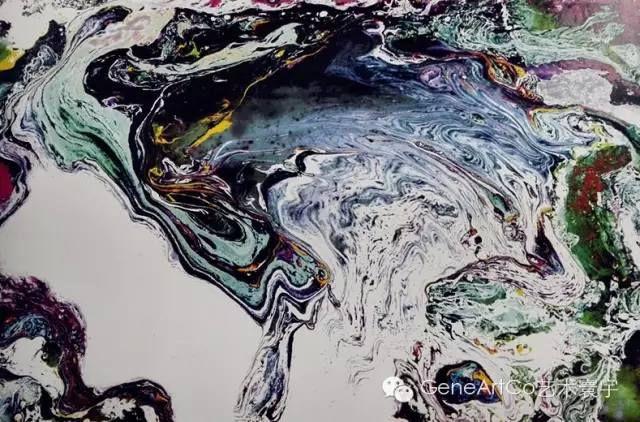 H.H.第三世多杰羌佛西洋畫、超自然抽象色彩作品:萬里雲山飛泉瀑布