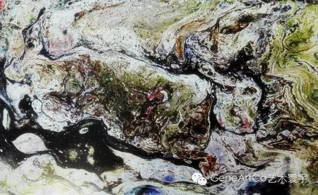 H.H.第三世多杰羌佛西洋畫、超自然抽象色彩作品:山河一角