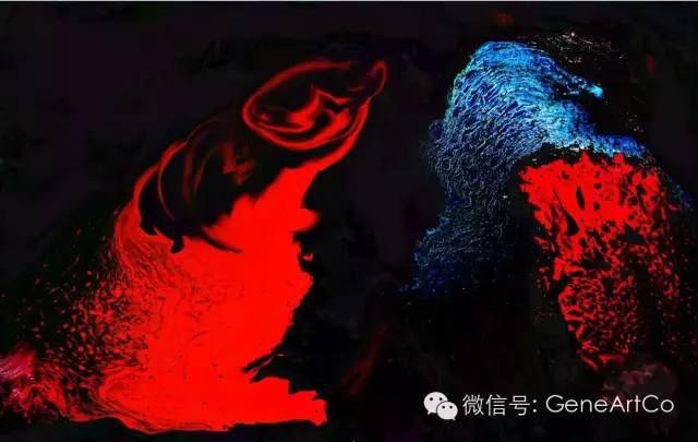 H.H.第三世多杰羌佛西洋畫、超自然抽象色彩作品:神的微妙