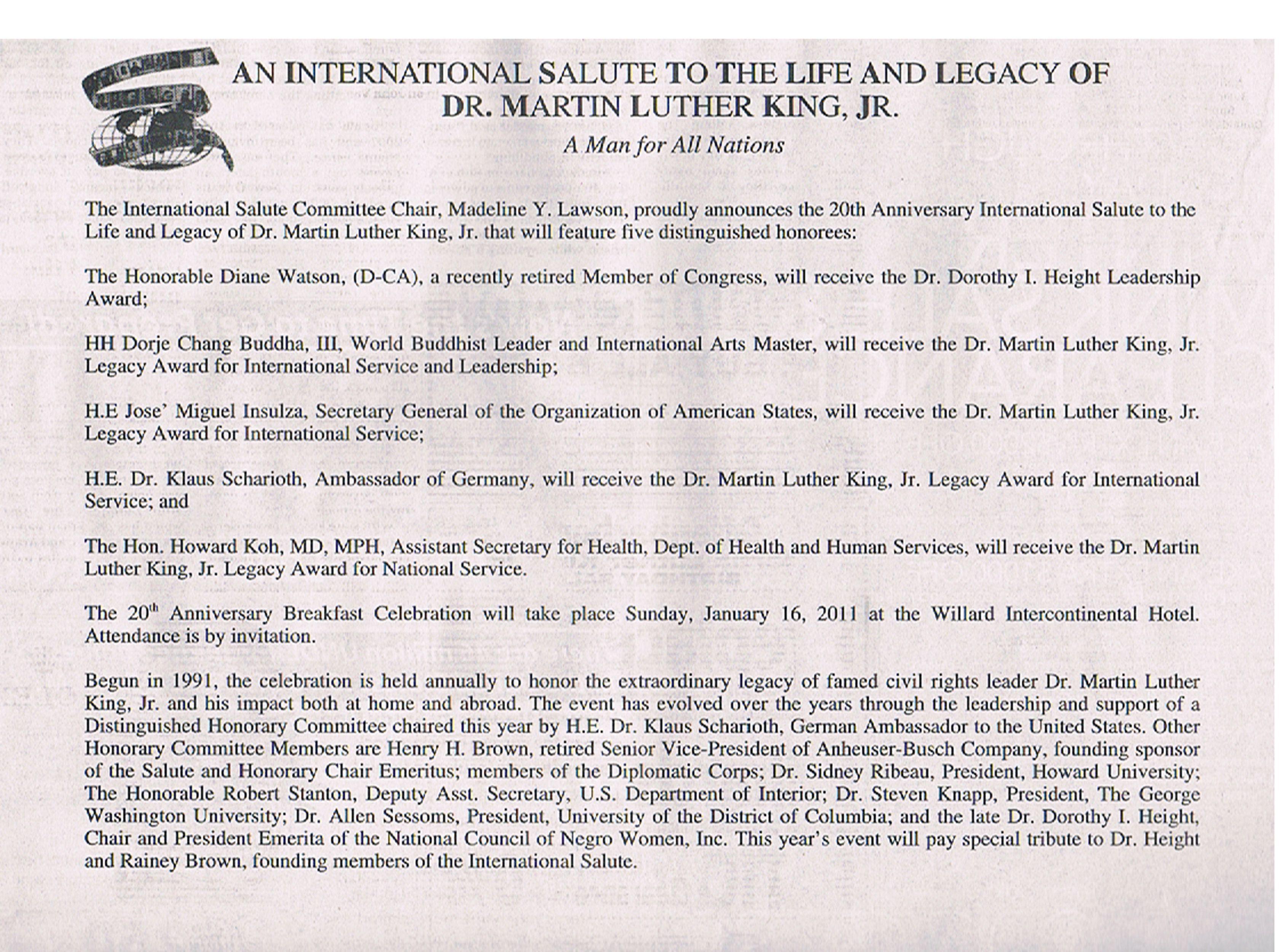 """H.H.第三世多杰羌佛獲得的馬丁路德金""""國際服務及領袖獎"""""""