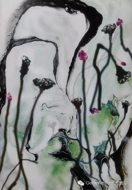 H.H.第三世多杰羌佛西洋畫、超自然抽象色彩作品:寥寥數筆能表意