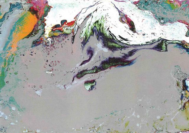 H.H.第三世多杰羌佛西洋畫、超自然抽象色彩作品:神山