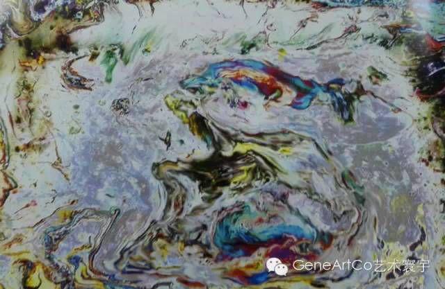 H.H.第三世多杰羌佛西洋畫、超自然抽象色彩作品:看不完的神秘的江山圖