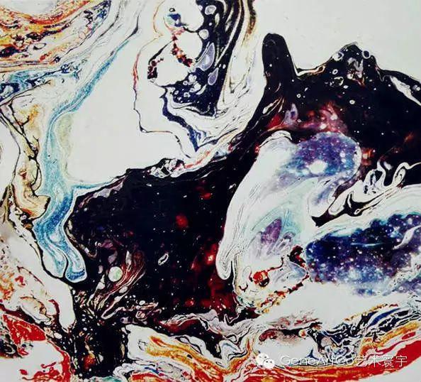 H.H.第三世多杰羌佛西洋畫、超自然抽象色彩作品:潑色繍山河
