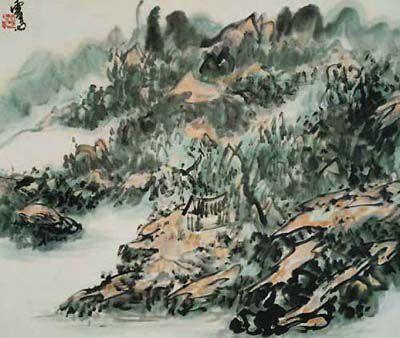 H.H.第三世多杰羌佛中國畫作品:渾厚華滋書卷濃