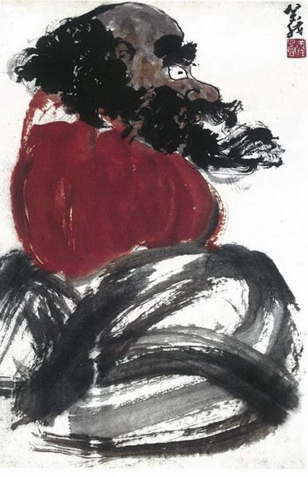 H.H.第三世多杰羌佛中國畫作品:達摩祖師
