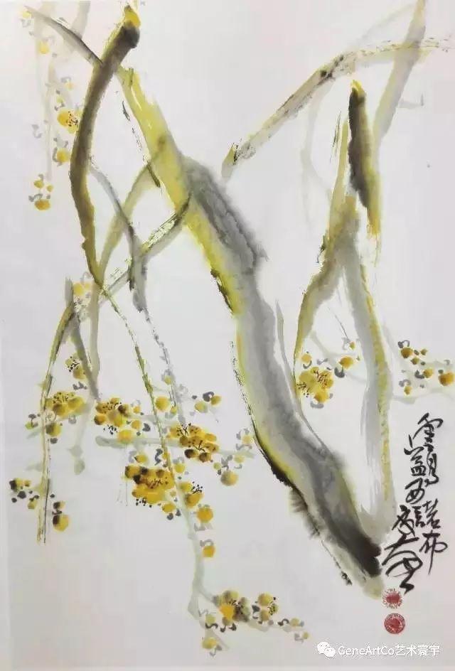 H.H.第三世多杰羌佛中國畫作品:園中花幾枝