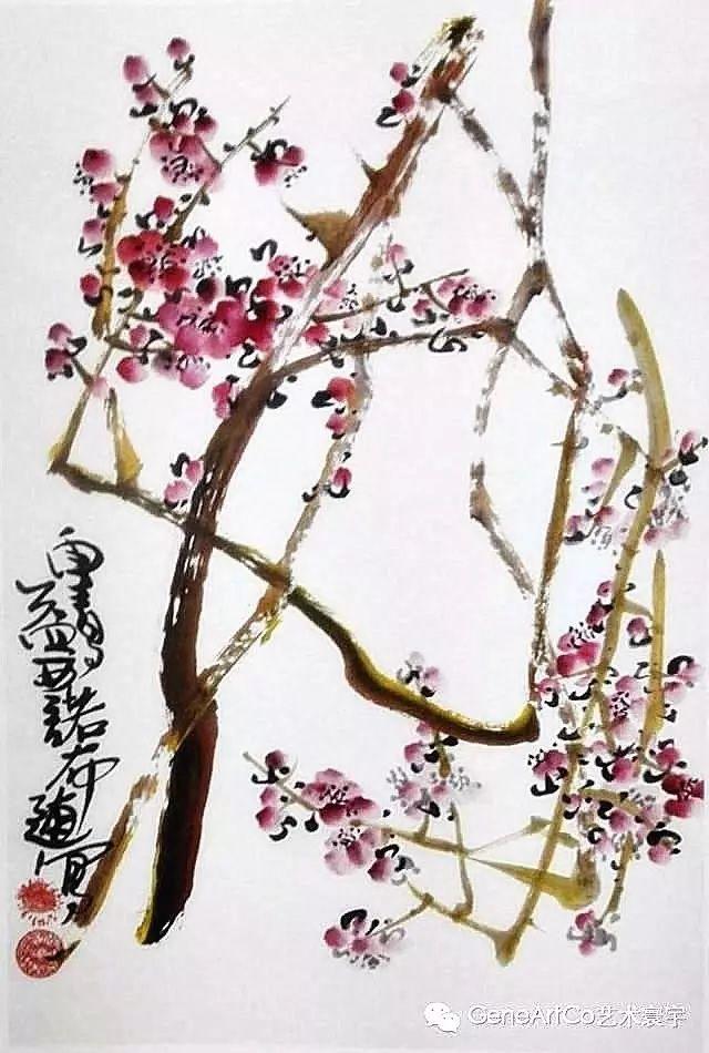 H.H.第三世多杰羌佛中國畫作品:冬枝紅豔