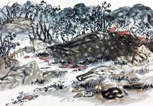H.H.第三世多杰羌佛中國畫作品:鄉土情濃