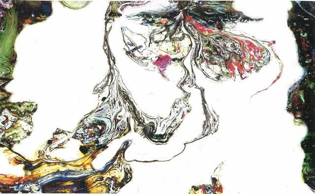 H.H.第三世多杰羌佛西洋畫、超自然抽象色彩作品:天衣飄舞