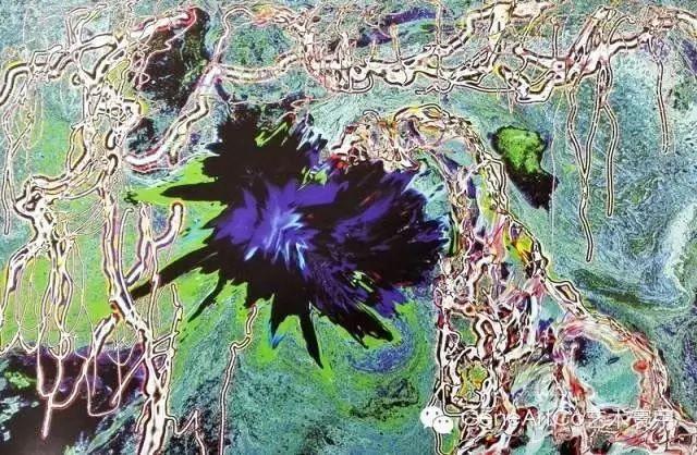 H.H.第三世多杰羌佛西洋畫、超自然抽象色彩作品:黑花曇藤