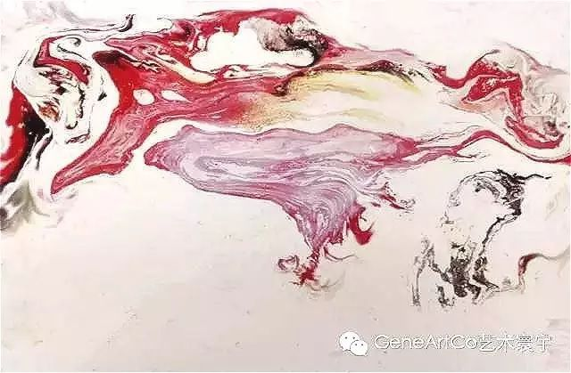 H.H.第三世多杰羌佛西洋畫、超自然抽象色彩作品:桃花雲像一片紗在空中飄著