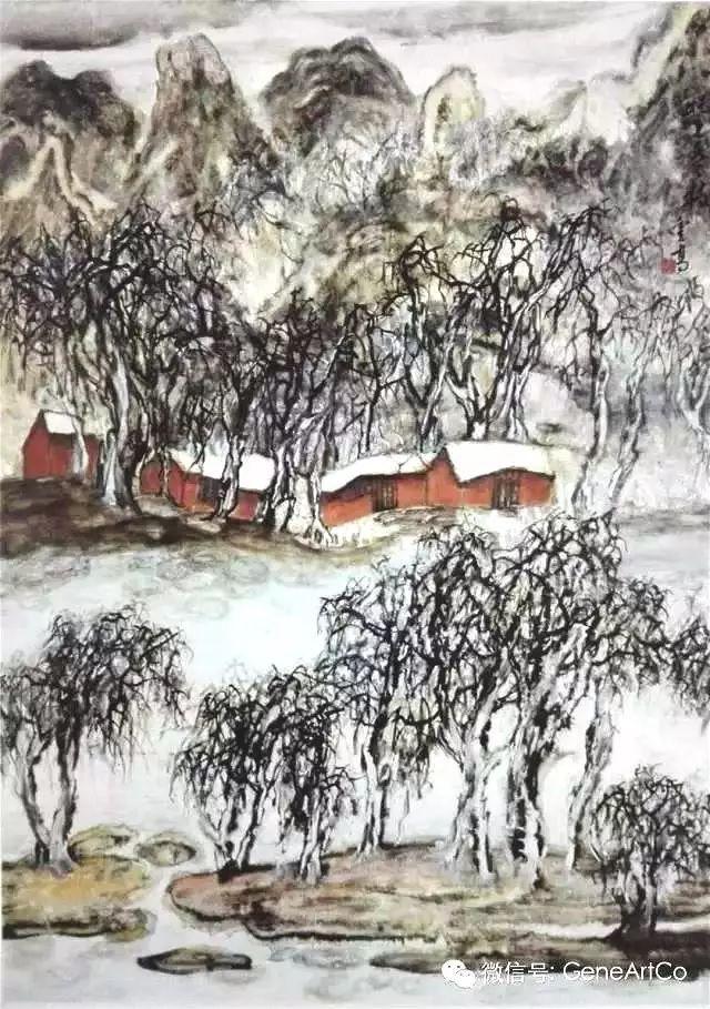 H.H.第三世多杰羌佛中國畫作品:北上冬枝