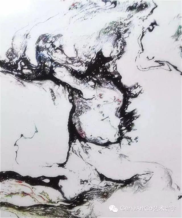 H.H.第三世多杰羌佛西洋畫、超自然抽象色彩作品:清奇的書寫見功夫