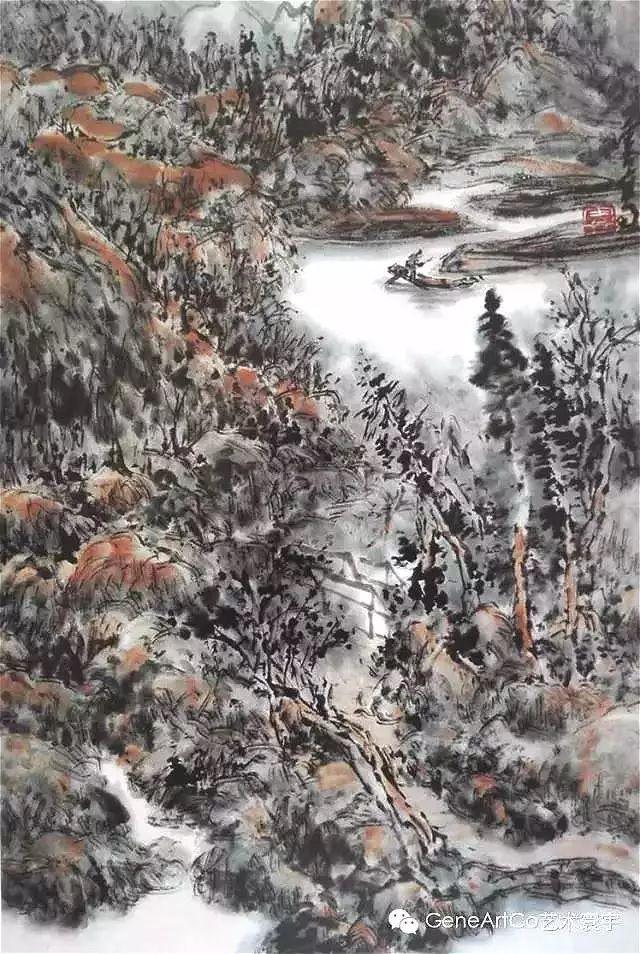 H.H.第三世多杰羌佛中國畫作品:四面珊瑚泛漁舟
