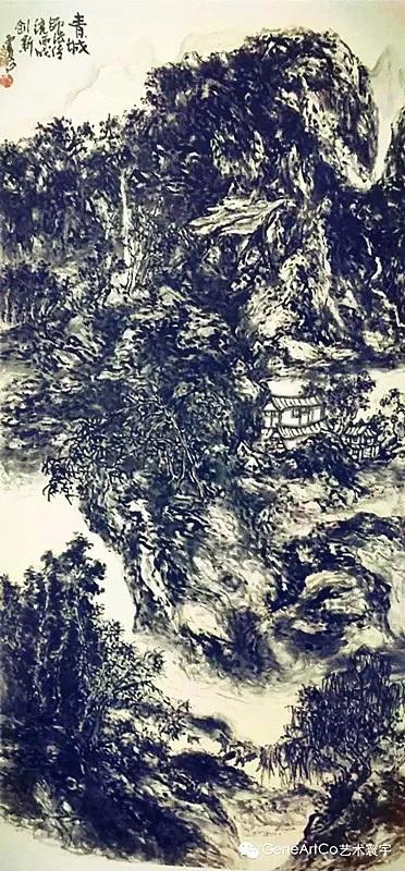 H.H.第三世多杰羌佛中國畫作品:青城