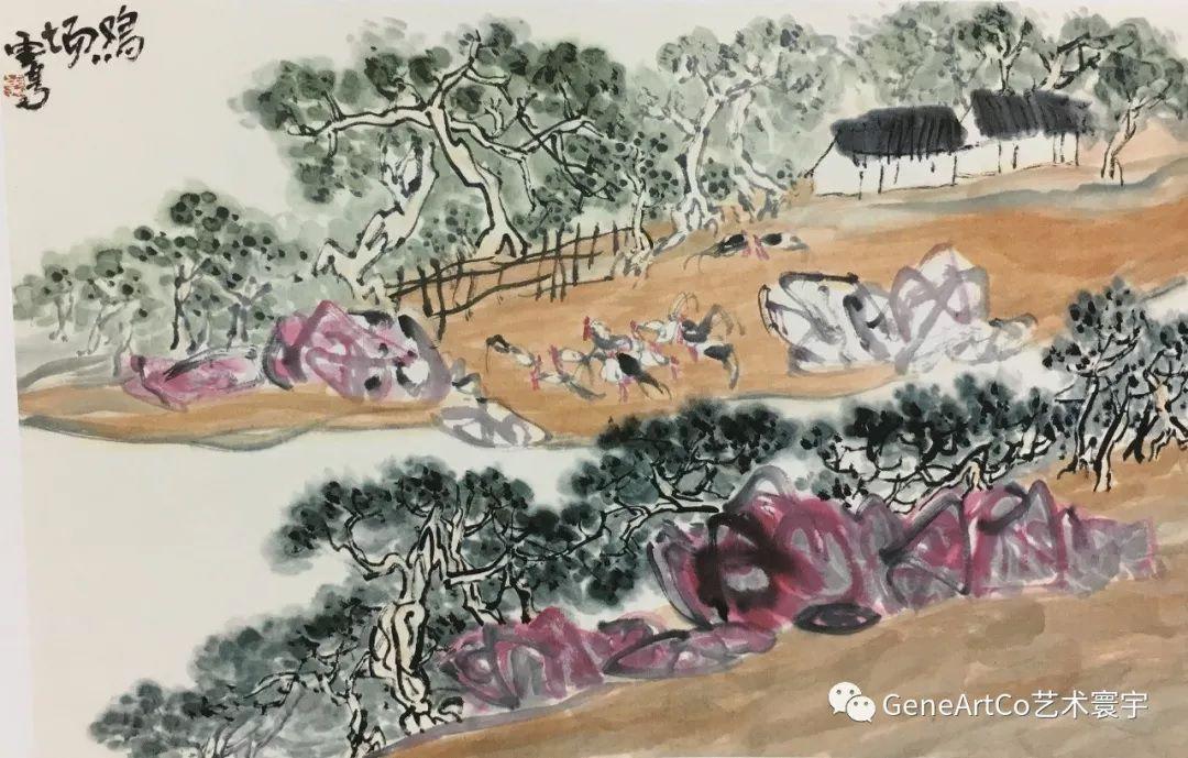 H.H.第三世多杰羌佛中國畫作品:雞場