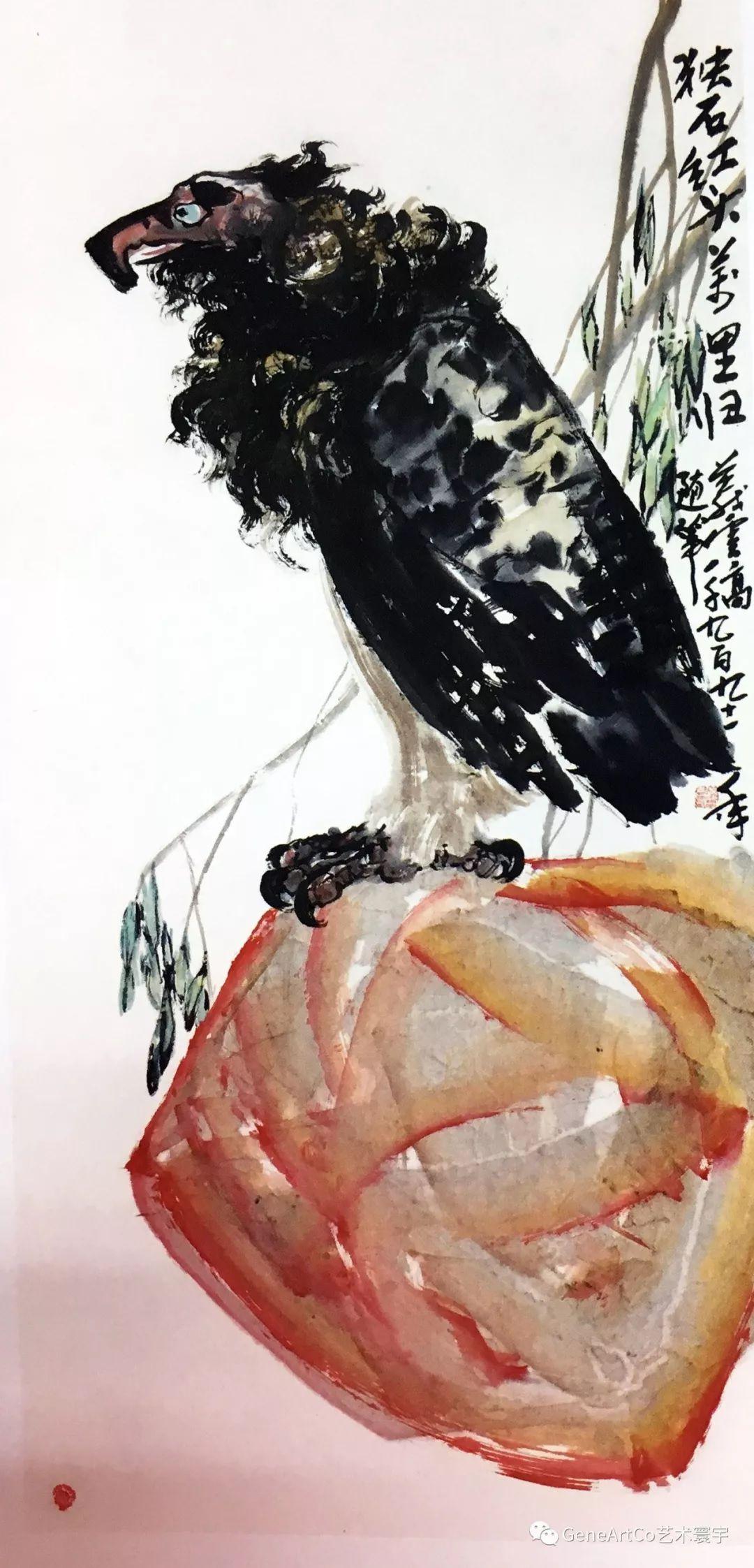 H.H.第三世多杰羌佛中國畫作品:獨石紅頭萬里歸