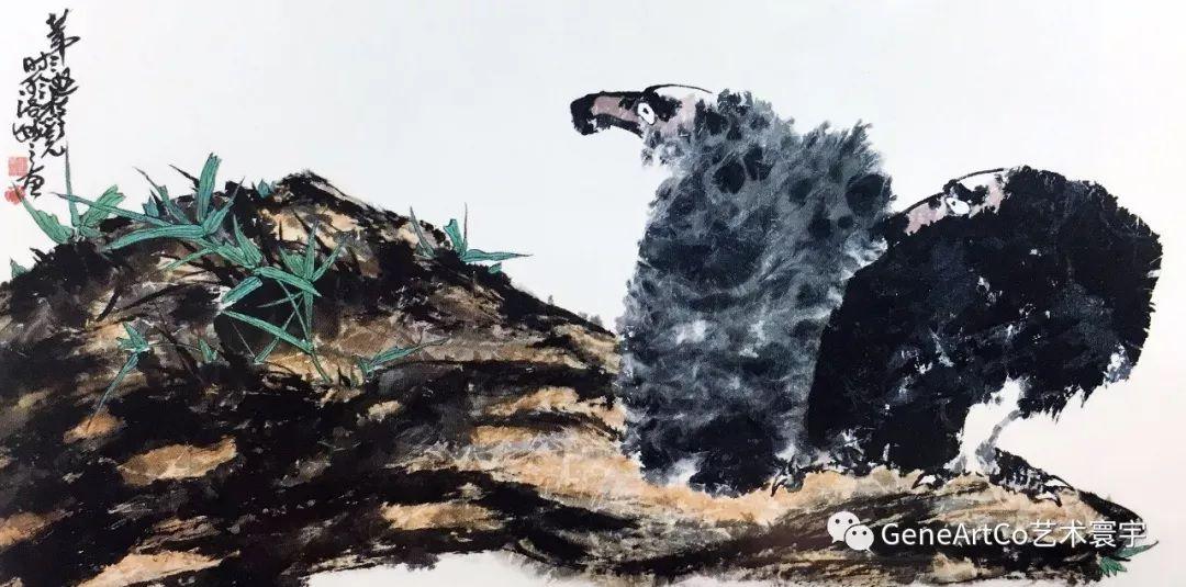 H.H.第三世多杰羌佛中國畫作品:雙鷹橫視