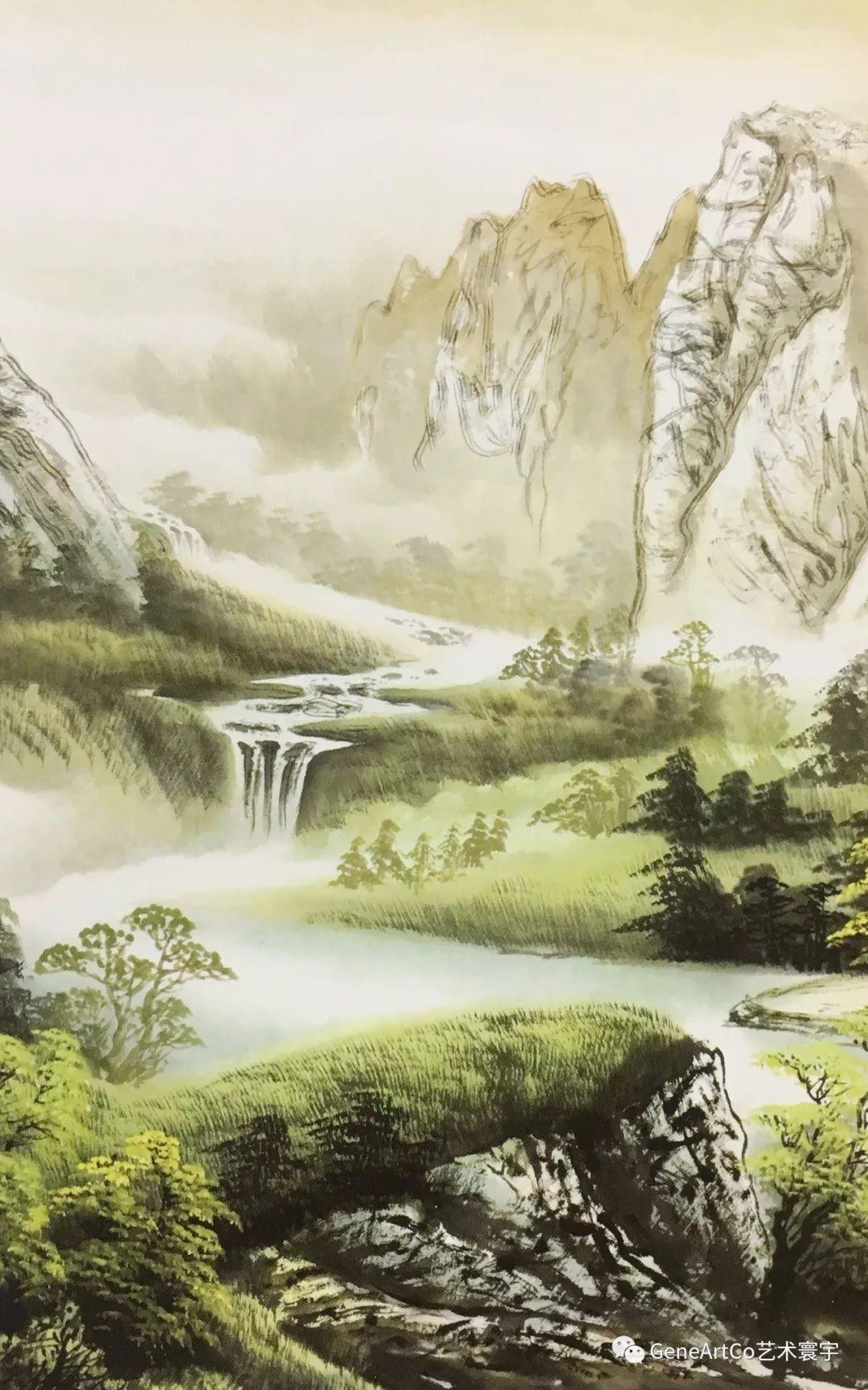 H.H.第三世多杰羌佛中國畫作品:桃花山莊情懷湖