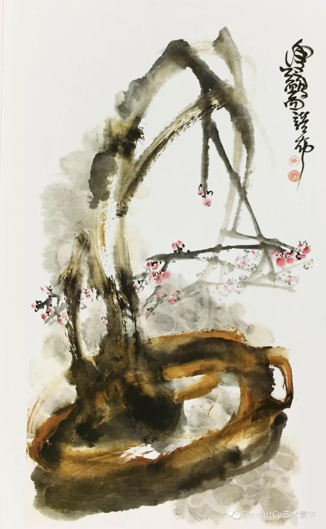 H.H.第三世多杰羌佛中國畫作品:樹根盆景