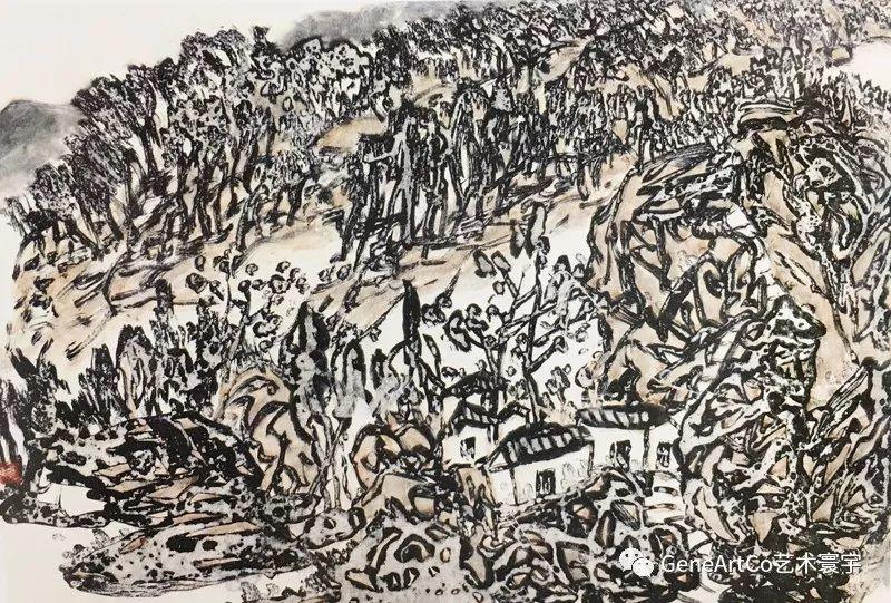 H.H.第三世多杰羌佛中國畫作品:毫端暫作鋼刀鋒,點染丹青書卷濃