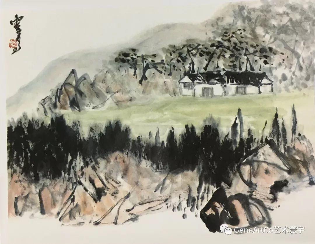 H.H.第三世多杰羌佛中國畫作品:老農曬穀場