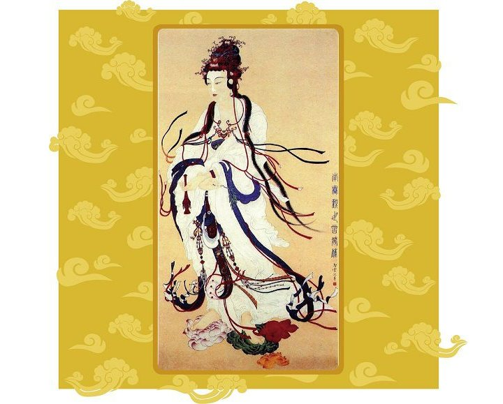 美國舊金山華藏寺-觀世音菩薩大悲加持法會 ——感言分享(三十七)觀世音菩薩穿著一身雪白的衣裳站在白色雲朵上(吳美智)