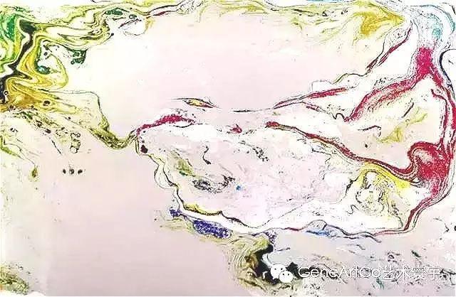 H.H.第三世多杰羌佛西洋畫、超自然抽象色彩作品:虛空有色無限好