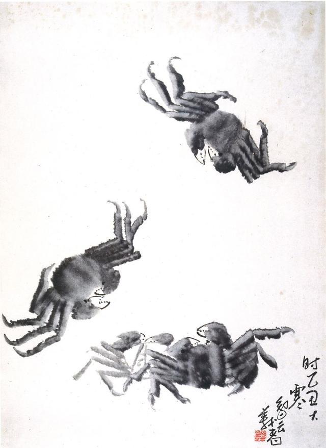 國畫《潑墨螃蟹》造型簡練質樸,畫面生生機蓬勃(員嶠山人)