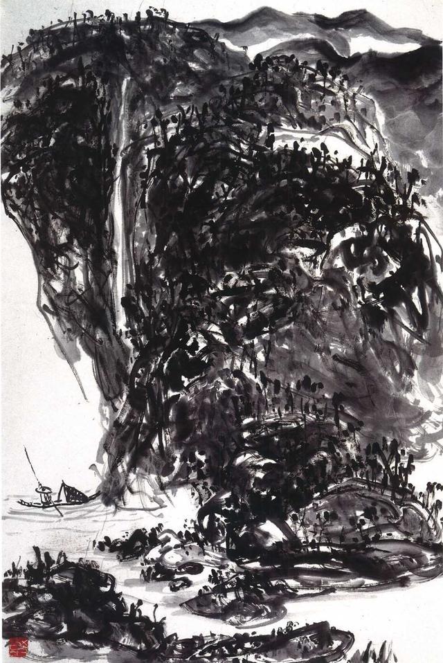 山水畫《飛泉獨舟》在草草的行筆之中,觸人心魄地渾然天成(墨谷)