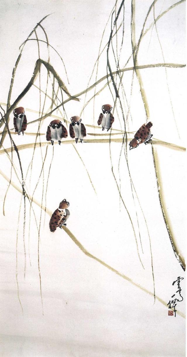 小鳥鳴唱嬉鬧,喜迎春天——國畫《宿士鬧春》(聽風閣主人)