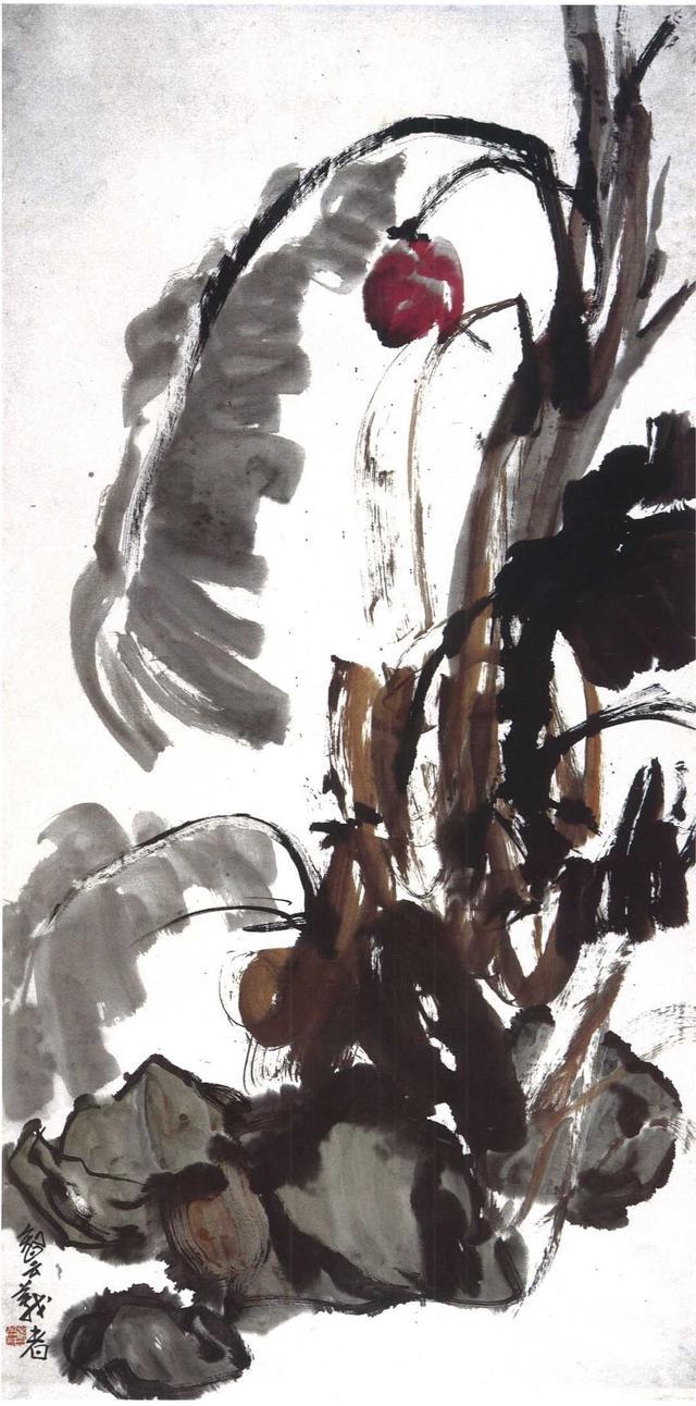 氣脈貫通的生命力和大氣磅礴的筆觸營造了國畫《殘蕉墜紅》(黃鐘鳴)