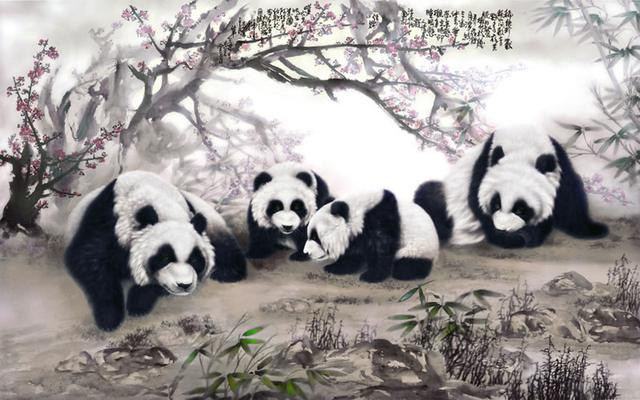 中國國寶熊貓清奇雅致,寧靜和諧(墨海道人)