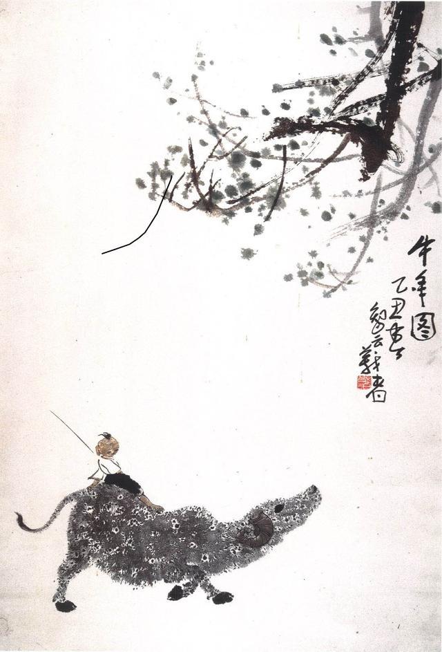 國畫《牛年圖》的大面積留白透出了杏花春雨的詩意(朝陽)
