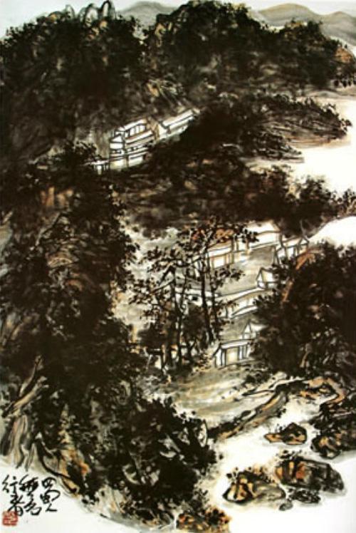 「黑墨團中天地寬」——山水畫《夜寺圖》(雲煙觀友)