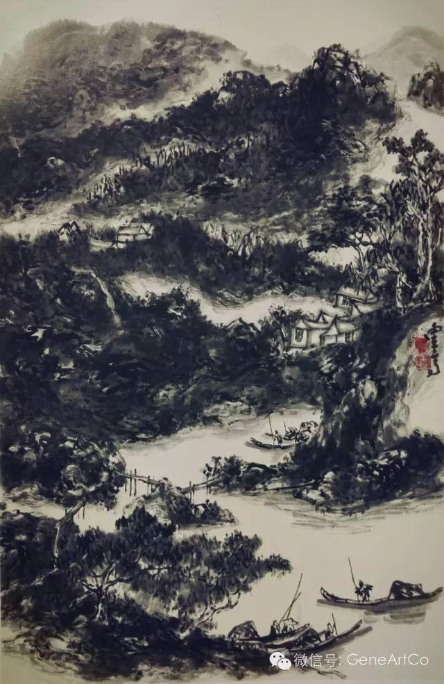 山水畫《斜江搖度》具有強烈的書法韻味和節奏(逸凡)